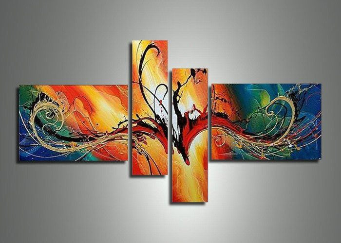 Canvas Oil Paintings - Modern Abstract Canvas Oil Painting | 4 Panel | 385