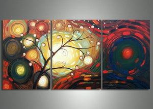 Canvas Oil Paintings - Modern Abstract Tree Canvas Oil Painting | 3 Panel | 607