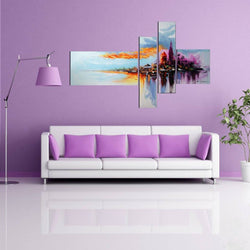 Canvas Oil Paintings - Modern City Beach-Side Painting | 4 Piece | 1060