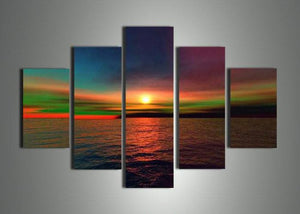 Canvas Oil Paintings - Modern Ocean Sunset Canvas Oil Painting | 5 Panel | 739