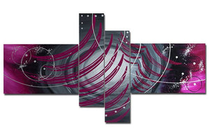Canvas Oil Paintings - Modern Purple Abstract Painting | 4 Panel | 1005