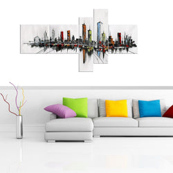 Canvas Oil Paintings - Modern USA Cityscape Canvas Painting | 5 Panel | 1091