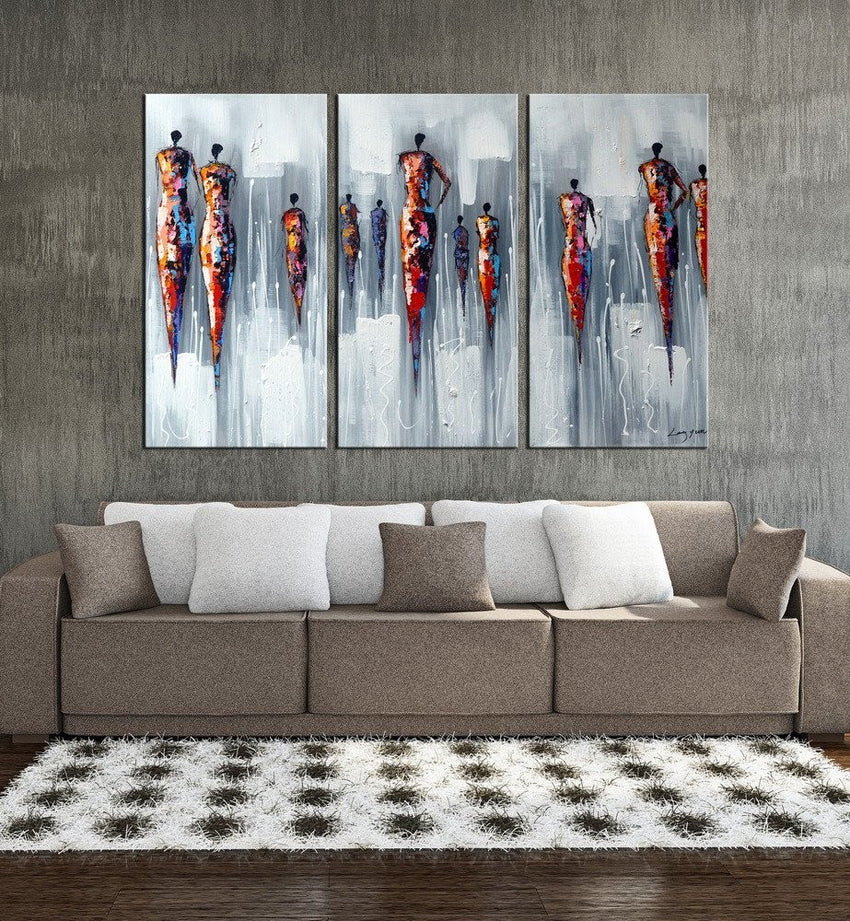 Canvas Oil Paintings - Modern Women Abstract Canvas Oil Painting | 3 Panel | 1193