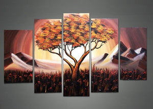 Canvas Oil Paintings - Mountain Side Tree Canvas Oil Painting | 5 Panel | 1099