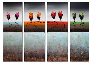 Canvas Oil Paintings - Multi-Color Flowers Canvas Oil Painting | 4 Panel | 1192