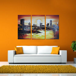 Canvas Oil Paintings - New York Bridge Cityscape Painting | 3 Piece | 1131