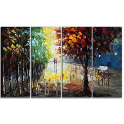 Canvas Oil Paintings - Night In The Park Canvas Oil Painting | 4 Panel | 3507