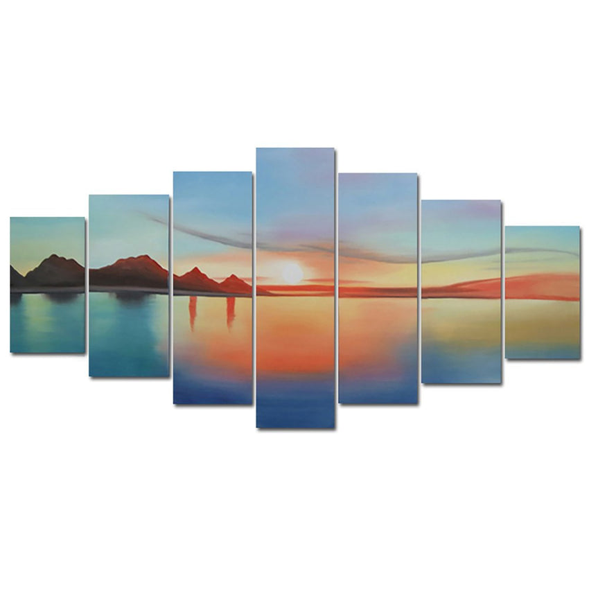 Canvas Oil Paintings - Ocean Sunset Canvas Oil Painting | 7 Panel | 795