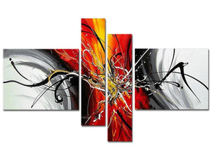 Canvas Oil Paintings - Orange Modern Abstract Canvas Oil Painting | 4 Panel | 164