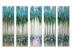 Canvas Oil Paintings - Overlook Abstract Blue & Green Painting | 5 Piece | 1144