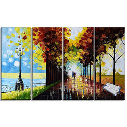 Canvas Oil Paintings - Park On The Waterfront Canvas Oil Painting | 4 Panel | 3505