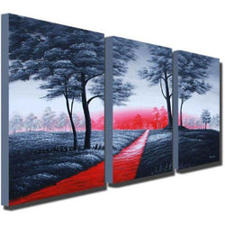 Canvas Oil Paintings - Path Of Love Canvas Oil Painting | 3 Panel | 737