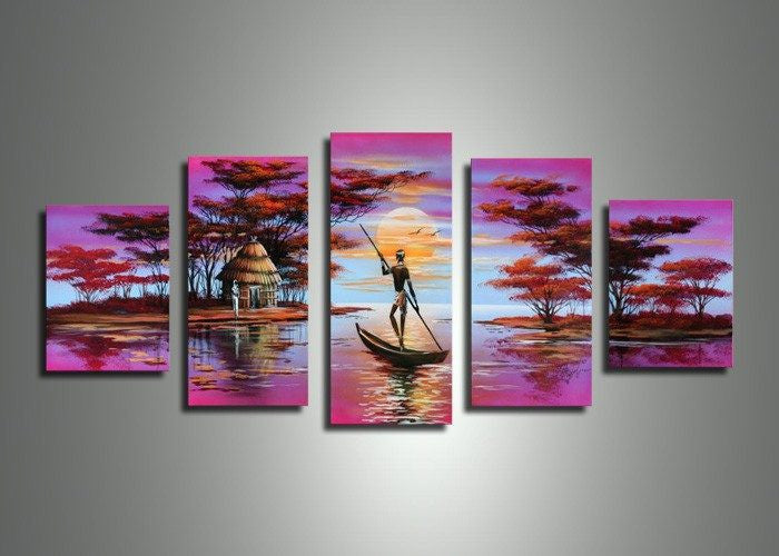 Canvas Oil Paintings - Pink Asian Art Painting | 5 Panel | 496