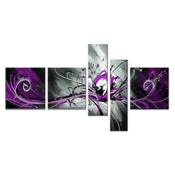Canvas Oil Paintings - Purple Abstract Oil Painting | 5 Panel |  805