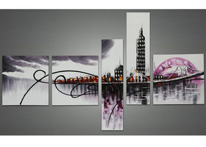 Canvas Oil Paintings - Purple Architecture Cityscape Canvas Oil Painting | 5 Panel | 1028