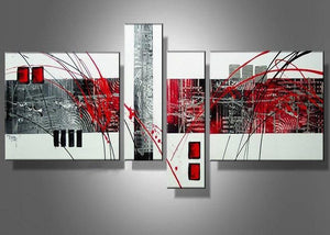 Canvas Oil Paintings - Red Abstract Canvas Oil Painting | 4 Panel | 438