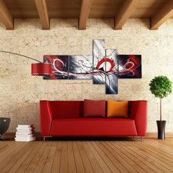 Canvas Oil Paintings - Red Abstract Textured Oil Canvas Painting | 5 Piece | 414