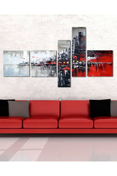 Canvas Oil Paintings - Red And Black Cityscape Art Painting | 5 Piece | 1101