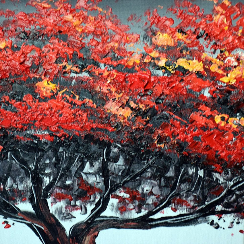 Canvas Oil Paintings - Relax Under The Big Red Tree Canvas Oil Painting | 4 Panel | 1217