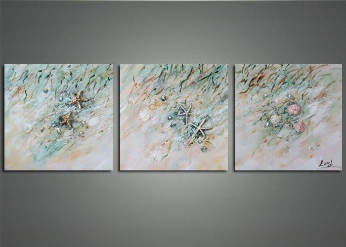 Canvas Oil Paintings - Seashells & Gold Fish Canvas Oil Painting | 3 Panel | 1150