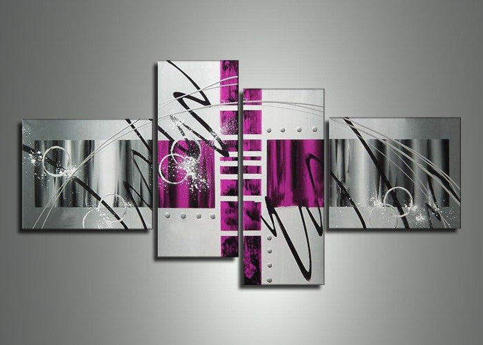 Canvas Oil Paintings - Silver Abstract Painting | 4 Panel | 454