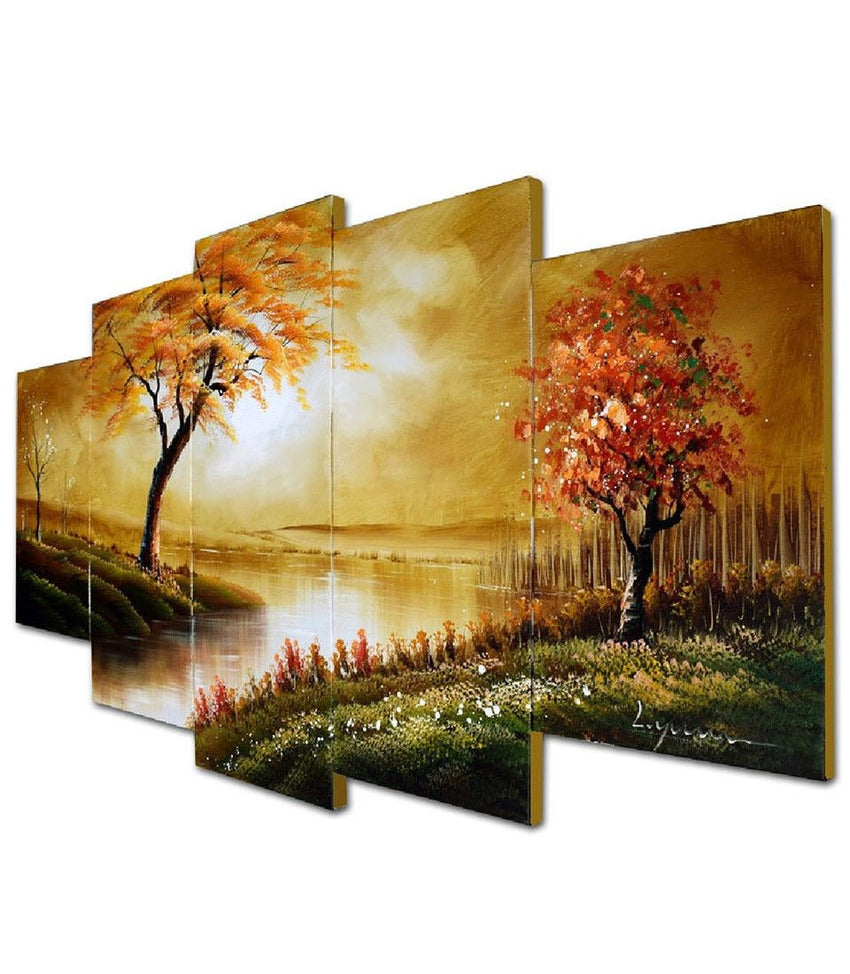 Canvas Oil Paintings - Stream Diversion Tree Painting | 5 Piece | 1240