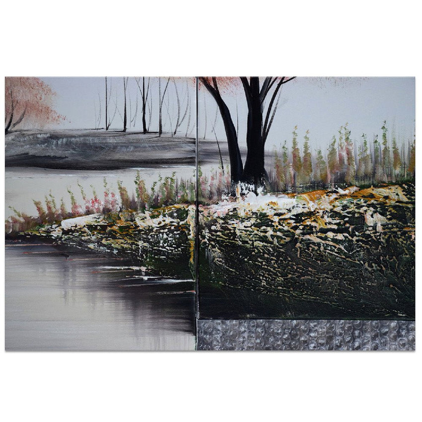 Canvas Oil Paintings - Stream In Pink Forest Canvas Oil Painting | 5 Panel | 1237