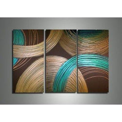 Canvas Oil Paintings - Textured Abstract Circles Canvas Oil Painting | 3 Panel | 210