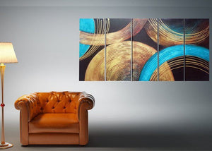 Canvas Oil Paintings - Textured Abstract Circles Canvas Oil Painting | 5 Panel | 210