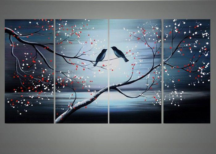 Canvas Oil Paintings - Together Forever - Love Birds Canvas Oil Painting | 4 Piece | 1168