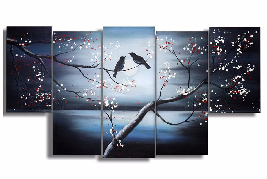 Canvas Oil Paintings - Together Forever Love Birds Canvas Oil Painting | 5 Piece | 1268