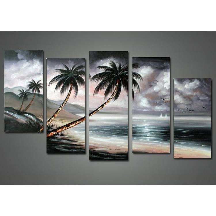 Canvas Oil Paintings - Tropical Nature - Stormy Sky | 5 Panel | 1200