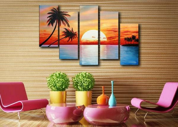 Canvas Oil Paintings - Tropical Sunset Beach Canvas Oil Painting | 5 Panel | 347