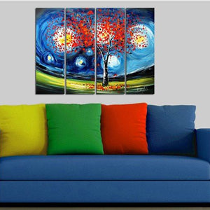 Canvas Oil Paintings - Under The Starry Night Canvas Oil Painting | 4 Panel | 1157