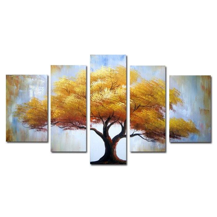 Canvas Oil Paintings - Yellow Tree Canvas Oil Painting | 5 Panel | 1320