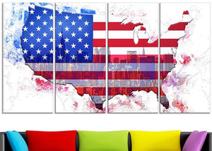Canvas Print - American City Flag Map Canvas Print | PT2829