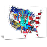 Canvas Print - American Monuments Map Canvas Print | PT2830