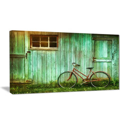 Canvas Print - Bicycle Against The Country Barn Canvas Print | PT6706
