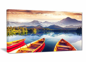 Canvas Print - Canoes On The Lake Canvas Print |  PT6748