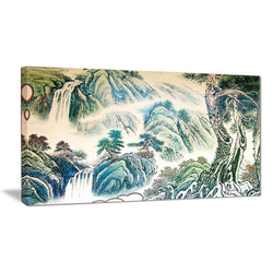 Canvas Print - Chinese Waterfall Landscape Canvas Art Print | PT7493