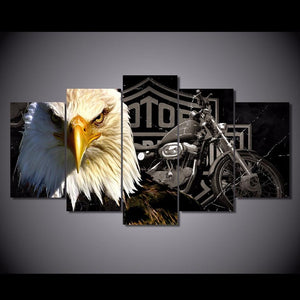 Canvas Print - Harley Davidson & Eagle Motorcycle Canvas Print | 5 Panel | NY-2910