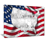 Canvas Print - Map Over American Flag Canvas Print | PT2836