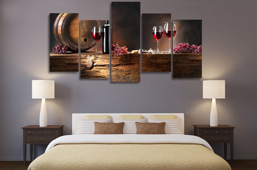 Merveilleux Red Wine Multi Panel Canvas Art Print | 5 Piece