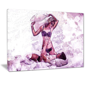 Canvas Print - Sensual Play Pillow Fight Canvas Art Print | PT2928