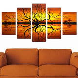 Abstract Tree Multi Panel Landscape Art | Canvas Oil Painting | 5 Piece