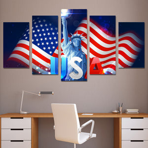 USA Flag Lady Liberty Multi Panel Canvas Art Print | 5 Piece