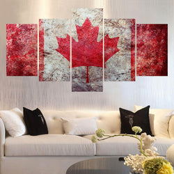Canada National Flag Multi Panel Canvas Art Print | 5 Piece