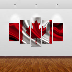 Canada Flag Multi Panel Canvas Art Print | 5 Piece