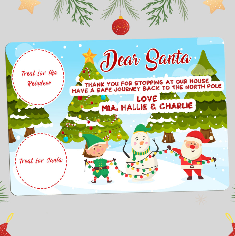 Christmas Place Mat For Santa And Rudolph Treats Design