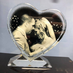 NEW! Photo Picture Glass Heart Crystal - Any Photo